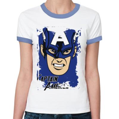 Женская футболка Ringer-T  Капитан Америка
