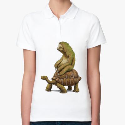 Женская рубашка поло Ленивец на черепахе