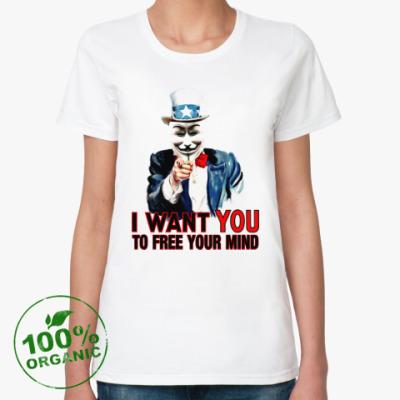 Женская футболка из органик-хлопка Anonymous Uncle Sam