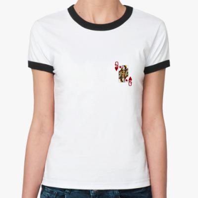 Женская футболка Ringer-T Дама червей