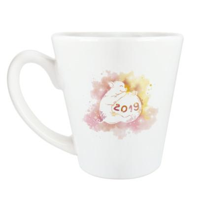 Чашка Латте Новогодняя свинка 2019