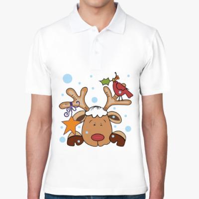 Рубашка поло Новогодний олень и снегирь