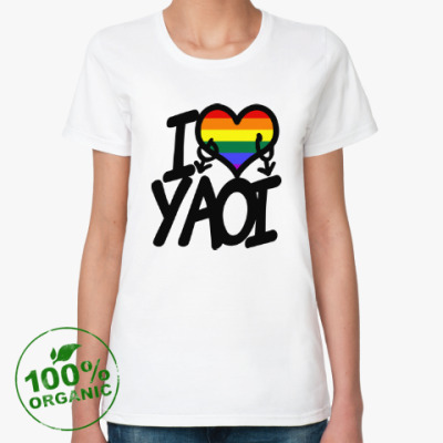 Женская футболка из органик-хлопка I love yaoi (Boys' Love)