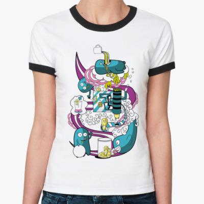 Женская футболка Ringer-T Cute trash