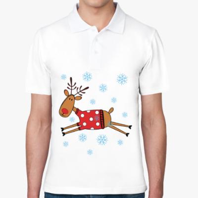 Рубашка поло Новогодний олень в свитере