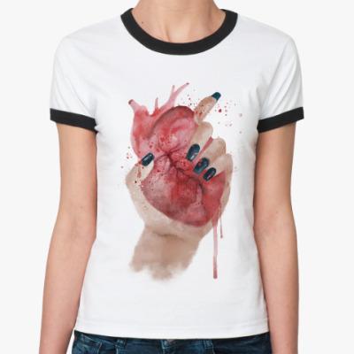 Женская футболка Ringer-T Сердце в руке