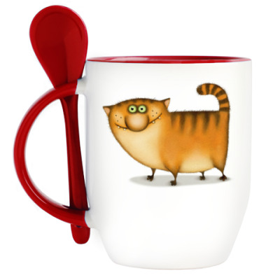 Кружка с ложкой  Кот