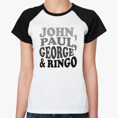 Женская футболка реглан John.Paul.George&Ringo