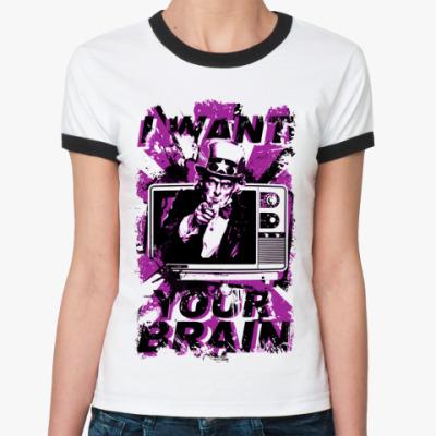 Женская футболка Ringer-T   (бел/чёрн) TV