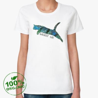 Женская футболка из органик-хлопка Галактический кот