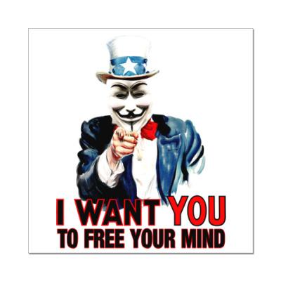 Наклейка (стикер) Anonymous Uncle Sam