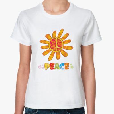 Классическая футболка Цветы,яркое солнце-мир всем!