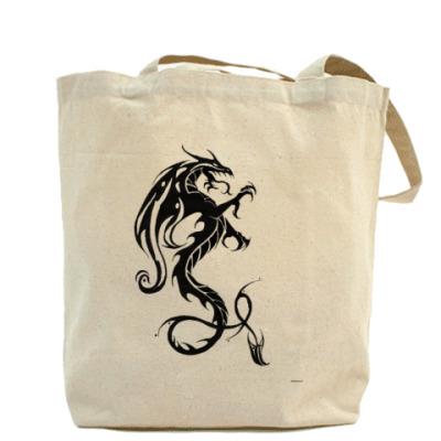 Холщовая сумка с драконом