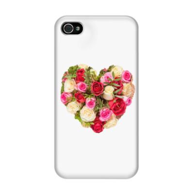 Чехол для iPhone 4/4s Сердце из роз