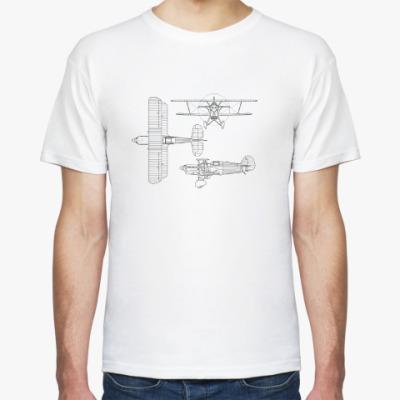 Футболка Авиация: биплан. Ретро-стиль.