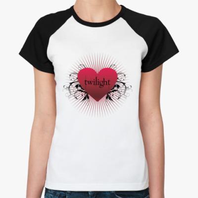 Женская футболка реглан Twilight heart