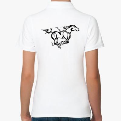 Женская рубашка поло лошадь