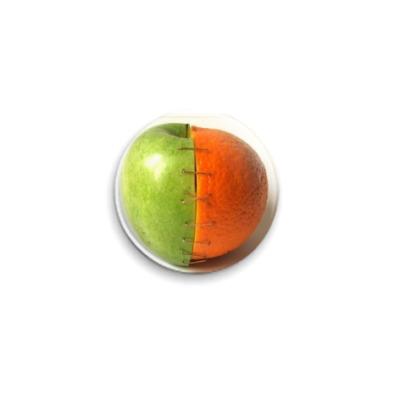 Значок 25мм  25 мм Яблоко-апельсин