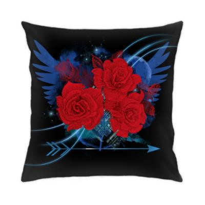 Подушка Красные розы и крылья