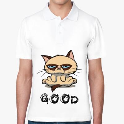 Рубашка поло Недовольный кот ( Grumpy cat )