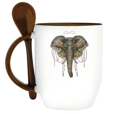 Кружка с ложкой Индийский слон