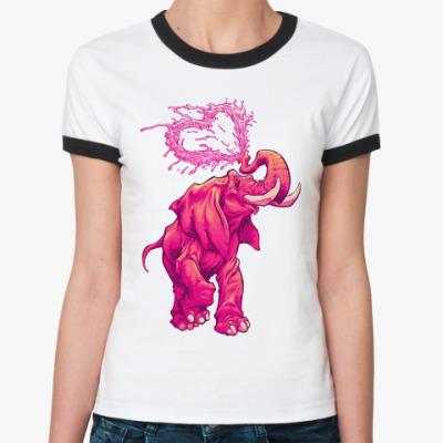 Женская футболка Ringer-T Счастливый слоник