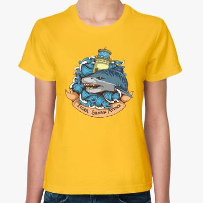 Женская футболка Море. Акула.