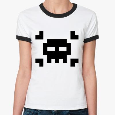 Женская футболка Ringer-T 8bit skull  Ж ()