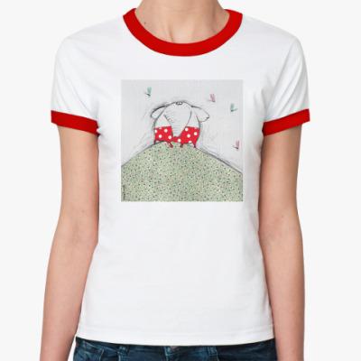 Женская футболка Ringer-T  'Слон на холме'