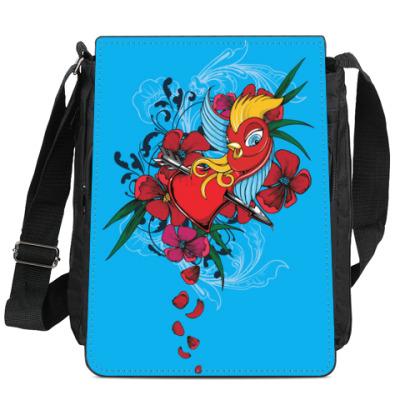 Сумка-планшет Птичка и сердце со стрелой