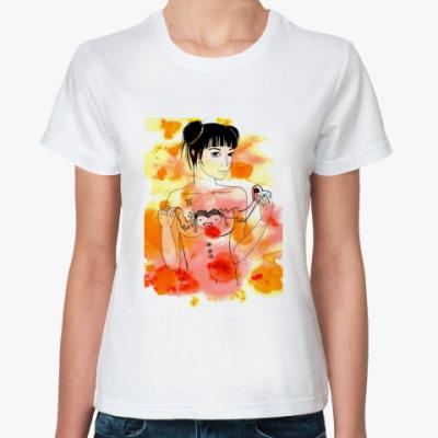 Классическая футболка Девушка и сердце