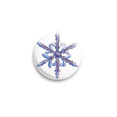 Значок 25мм  снежинка