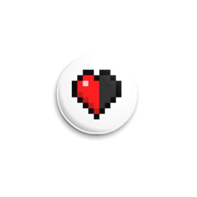 Значок 25мм Minecraft Half-Heart