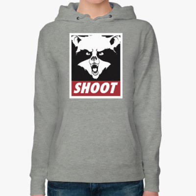 Женская толстовка худи Raccoon Shoot