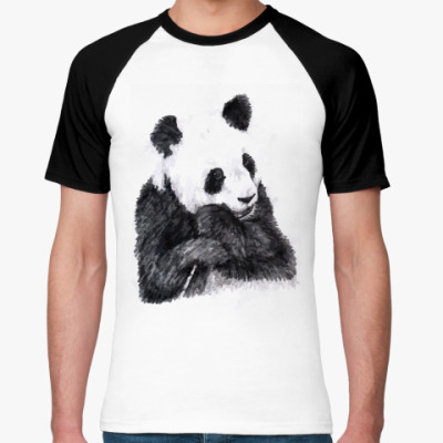 Футболка реглан Панда и бамбук