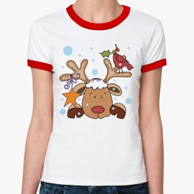 Женская футболка Ringer-T Новогодний олень и снегирь