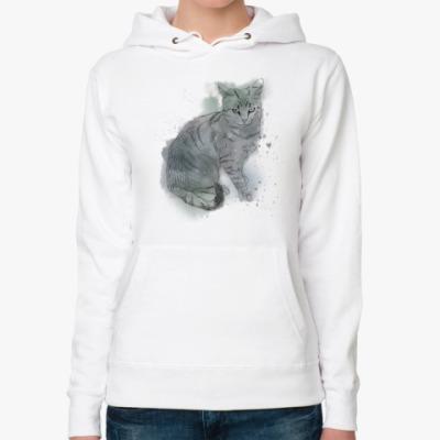 Женская толстовка худи Серый сердитый кот