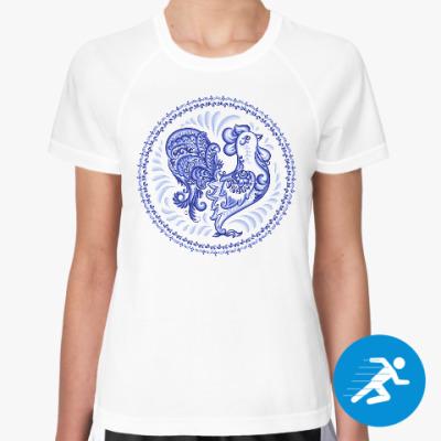 Женская спортивная футболка Петух в стиле Гжель