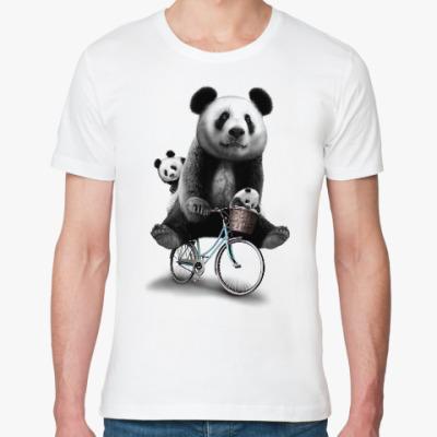Футболка из органик-хлопка Панды на велосипеде