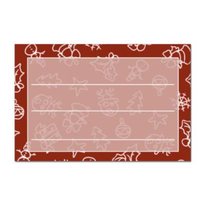 Наклейка (стикер) Ярлык с новогодним узором