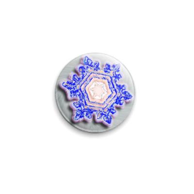 Значок 25мм `Волшебная снежинка`