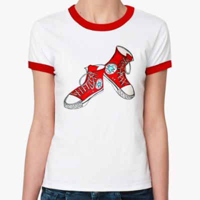 Женская футболка Ringer-T  Кеды