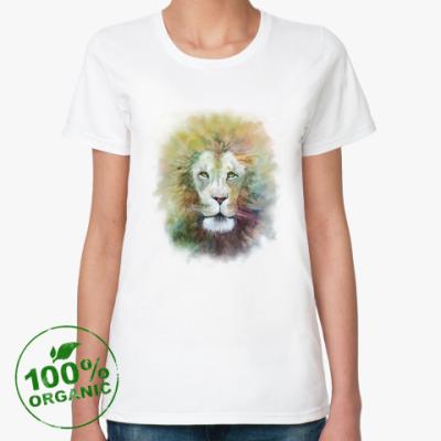 Женская футболка из органик-хлопка Лев, акварель