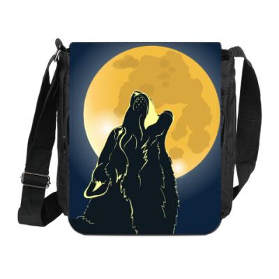 Сумка на плечо (мини-планшет) Волк воющий на луну