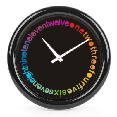Часы Радуга на черном фоне