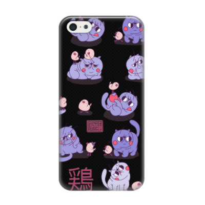 Чехол для iPhone 5/5s Kawaii Cats black pattern
