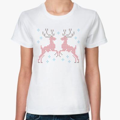 Классическая футболка Олени вязаные