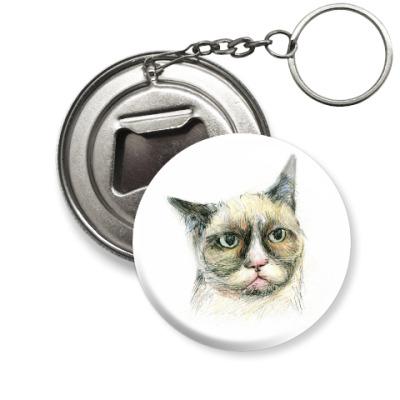 Брелок-открывашка Задумчивый кот