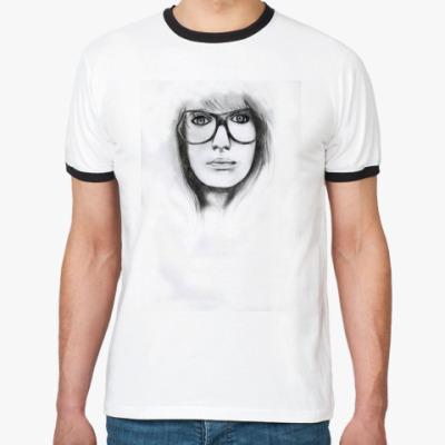 Футболка Ringer-T Портрет девушки