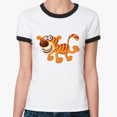 Женская футболка Ringer-T Тигрёнок
